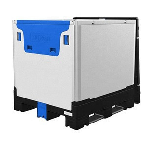 Hot sale returnable foldable plastic container with lid IBC tank tote bins for bulk liquid packaging