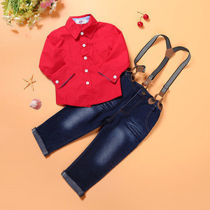 New Winter Fashion Child Clothing Suit Red Long Sleeve T-shirt Jeans Suspender Trousers 2 pcs Baby Boys Casual Set