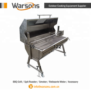 Outdoor cooking stainless steel hooded Spartan large charcoal lamb rotisseries
