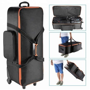 Professional Photography Video Studio Lighting Equipment Roller Trolley Carry Bag 76x26x26cm with Strap Padded Compartment Wheel