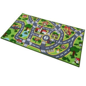 Promotes Educational and Imaginative  Colorful City Street Theme Playing Carpet Fun Play Mat