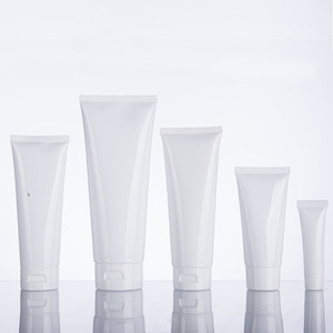 Stock Glossy White 3.3oz Hand Cream Cosmetic Packaging Tube with White Flip Top Cap