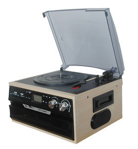 Top selling portable wooden multifunction turntable vinyl record cd player&turntable cd radio player with factory price