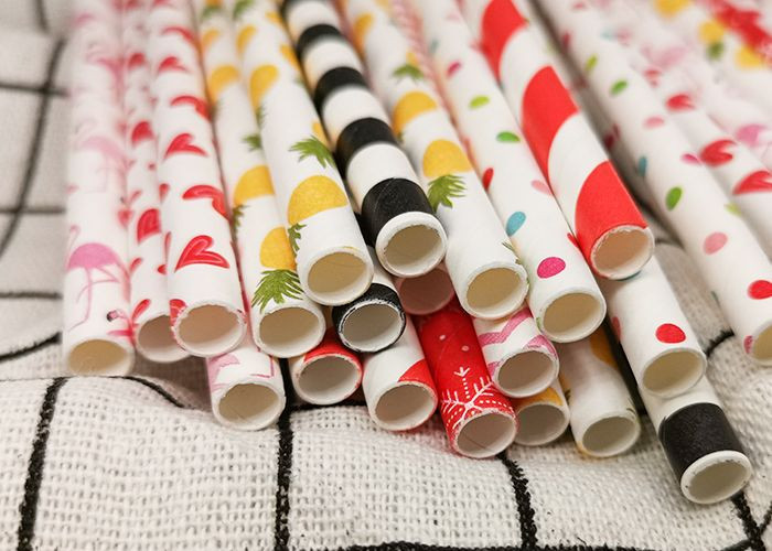 Customizable colors flexible eco-friendly disposable color flat mouth straight paper straws