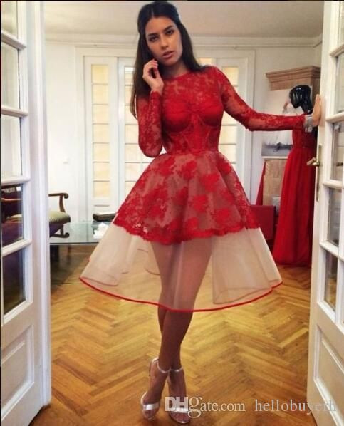 A Line Red Lace Long Sleeves Cocktail Party Dresses Sheer Beyonce Tea Length Short abiti da Cocktail Prom Dresses Cheap Homecoming Dresses