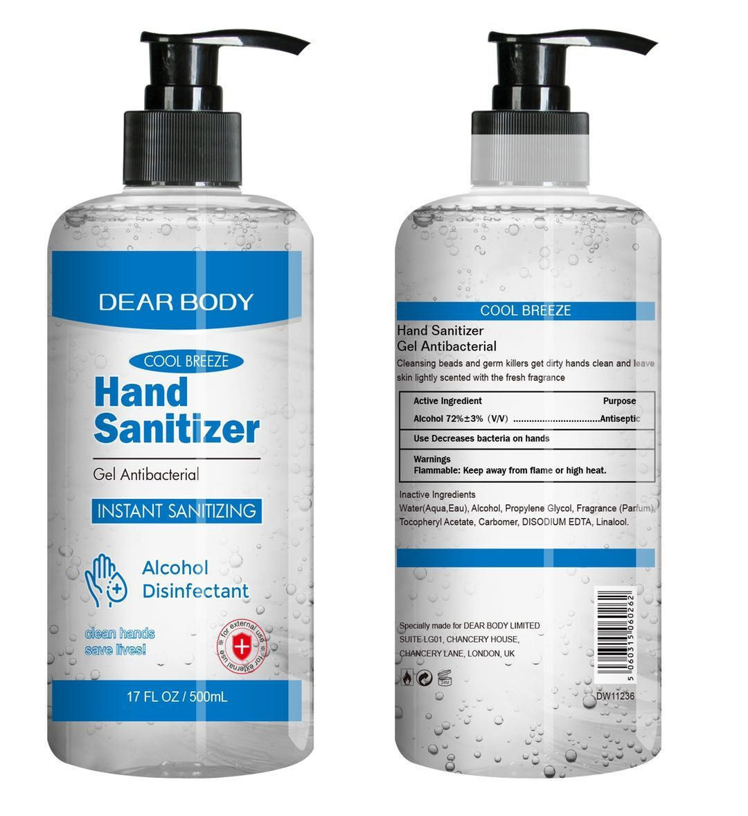 factory price 500ml - Instant Anti-bacterial Hand Sanitising Gel