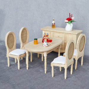 1:12 scale Miniature Furniture Miniature French Country Table & Chairs unfinished