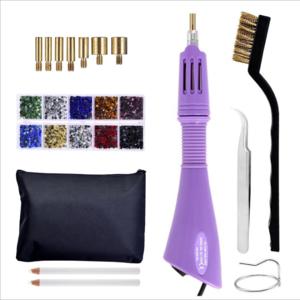 1SET Rhinestone Applicator Wand Setter Tool Kit Tips Tweezers Brush Cleaning kit