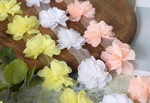 6cm 3D chiffon fabric flower trim,custom color fabric flower trim