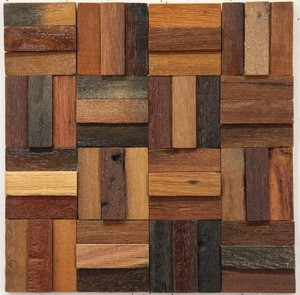 Brown Color Strip Mix Square Solid Wood Board Wall Mosaic Background Wall Storefront Decor  Culture Wood Wall  Mosaic