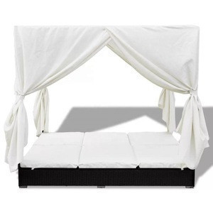 Deluxed Canopy Garden Pool Side Rattan Sunbed with Double Adjustable Sun Loungers with Waterproof Cushions and Curtains