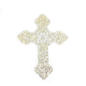 Gold glitter cross shape iron on