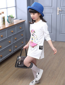 Hot Sale Kids Clothing Spring Cotton Cartoon Printed Girls Long Sleeve T Shirt