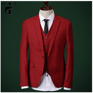 Mens One Button Red Suit For Wedding