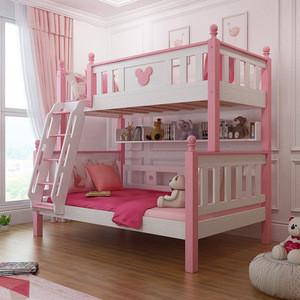 Modern bedroom furniture pink princess kids bunk bed for girls