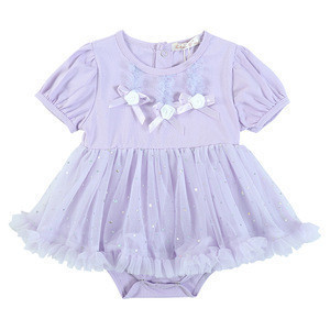 New arrival skirt for baby summer sweet party baby skirts cotton short sleeve baby girl dresses