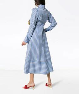 Newest Desgin High-End Women Dress Long Sleeve Cut Out Bow Chest Stripe Shirt Dress Long