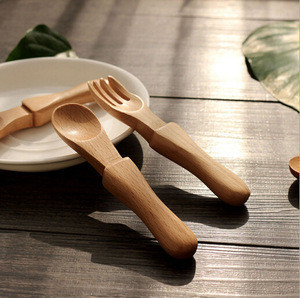 Small Wooden Dessert Spoon Fork Set Baby Kids Use Wood Spoons and Forks