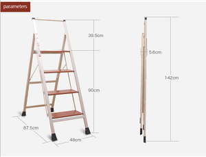 Solid wood grain step Aluminum 4 steps ladder, Foldable stable ladder with safety rail