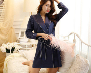 Women kimono solid color silk bathrobe sleepwear with pocket
