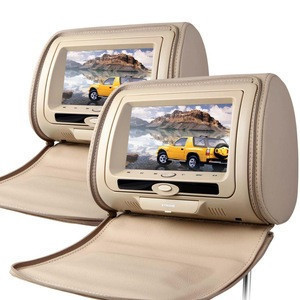 "XTRONS 2X7"" lcd screen car rear seat headrest monitor with Zipper Cover/dvd, seat back tv for bus"