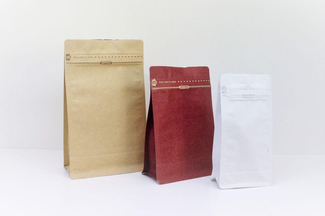 Tea, coffee, herbs, nuts common packaging easy tear zipper flat bottom paper pouch