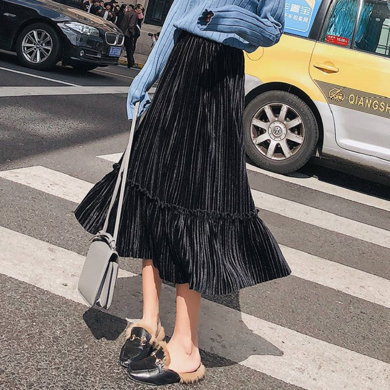 [Contains lining] [original fabric] Velvet pleated skirt women in autumn and winter long high-waisted aural skirt tail