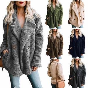 2019 New Shoulder Korean Design Fleece Lamb Fur Coat Trench Jacket Ladies Wool Winter Womens Coat