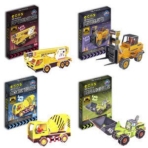 3D Paper Puzzle Jigsaw Cement Mixer Diaphragm Wall Grab Self-dumping Truck Model Tool Car Laser Cut  Assemble Toys for Child EXW