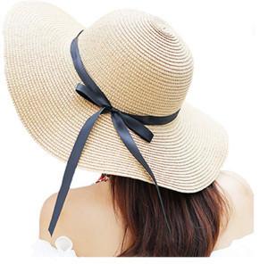 Beach fashion sun protection Sombrero straw hat wide brim straw hat women sequin beach hats
