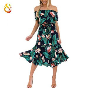 China factory price custom boho women one shoulder leaf printing casual beach dress wedding long skirts garment