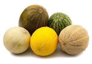 Fresh Watermelons, cantaloupe and honeydew 3 fruits sliced/dried