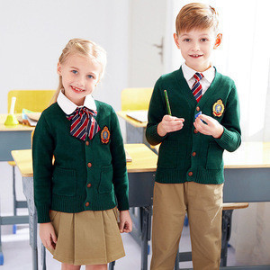 Kids Primary Red Sweater Coat Design With Pictures School Uniform