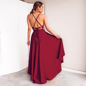 Latest spaghetti strap red prom dresses, high low sexy prom dress for party