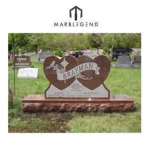 Natural granite stone double heart headstone