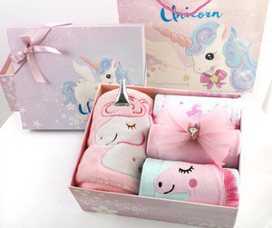 Newborn Clothes Set for Girls 0 to 12 Months 9 pcs Set 100% Cotton with Unicorn Pattern,Baby Shower Gift