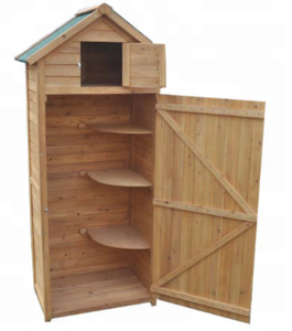 Outdoor Wood Composite Garden Tool Cabinet with Sentry Apex Storage Shed