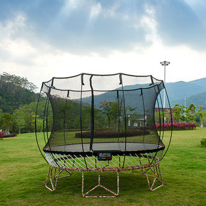 Professional 14ft outdoor gym bungee trampoline with safety enclosures