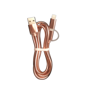 2018 Lotlike new arrival 2 in 1 cords of stainless steel usb charger cable metal spring usb charging cable for iphone samsung