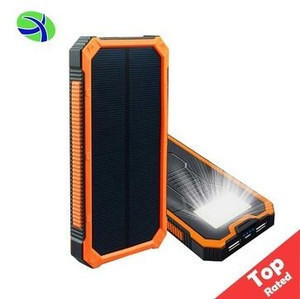2018 Top-Rated 10000Mah Solar Portable Power Bank Charger With Led, Rohs Waterproof Solar Mobile Cell Phone Charger