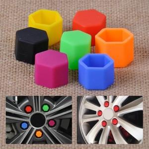 20pcs 17mm Silicone Hexagonsal Car Wheel Lug Nut Caps Bolt Rims Bolt Cover Protector Tyre Valve Screw Cap Antirust Nut