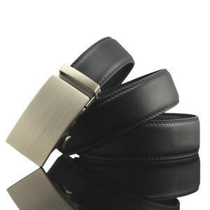 Adjustable Length Men's Real Leather Ratchet Dress Belt with Automatic Buckle