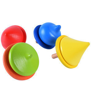 Baby toy wooden spinning top