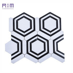 Black And White Marble Natural Stone Hexagon Mosaic Pattern