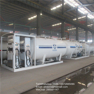 Cheap price mobile gas refueling gas tank mobile filling  station 5MT Skid built with dispenser and also gas leakage alarm