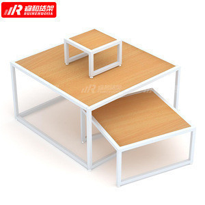 Factory wholesale wooden supermarket promotion table 3-layer display tables rack design