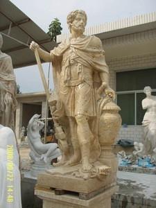 Hand carved Yellow Travertine stone Greek Warrior Sculpture