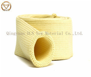 High heat resistant good anti-abrasive aramid fiber knitted tube for glass tempering