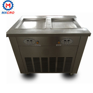 Luxury Mobile Single Square Pan With 1 Barrel Match Type Commercial Fried Ice Making Machine