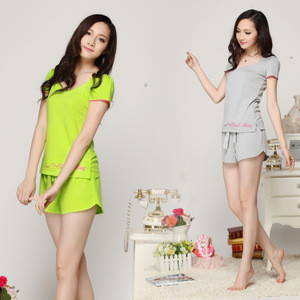Summer New Women Pajamas Set O-neck Short Sleeve Top + Shorts Womens Sleep Lounge Wear Pajama Suit